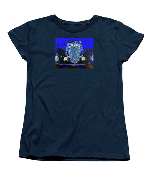 Women's T-Shirt (Standard Cut) featuring the painting Delahaye Vintage Car Blue by Walter Fahmy