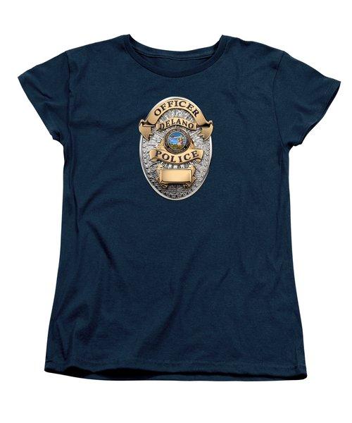 Women's T-Shirt (Standard Cut) featuring the digital art Delano Police Department - Officer Badge Over Blue Velvet by Serge Averbukh