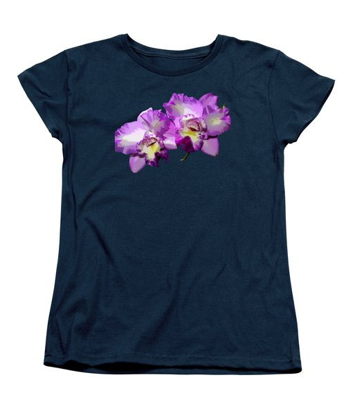 Women's T-Shirt (Standard Cut) featuring the photograph Delicate Purple Orchids by Phyllis Denton