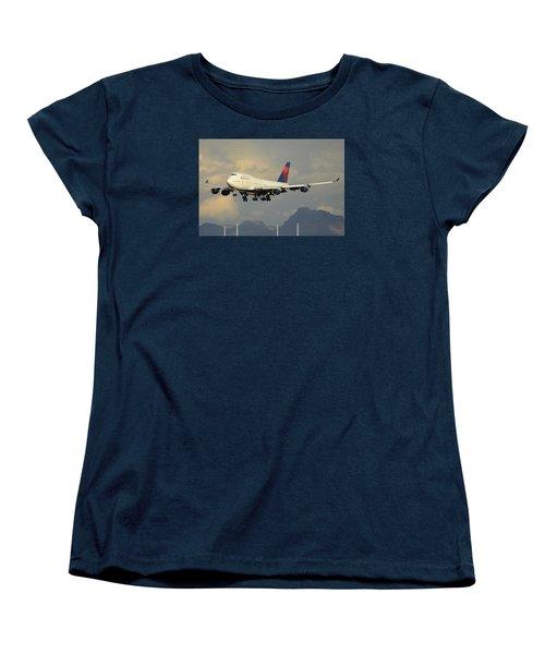 Delta Boeing 747-451 N668us Phoenix Sky Harbor January 8 2015 Women's T-Shirt (Standard Cut) by Brian Lockett