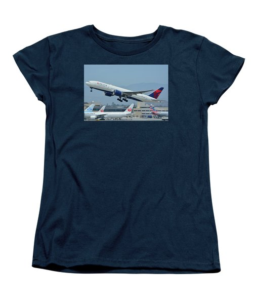 Women's T-Shirt (Standard Cut) featuring the photograph Delta Boeing 777-232lr N703dn Los Angeles International Airport May 3 2016 by Brian Lockett
