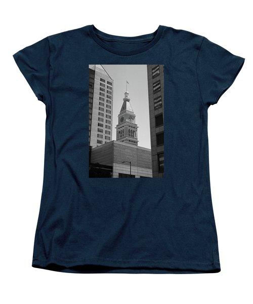 Denver - Historic D And F Clocktower 2 Bw Women's T-Shirt (Standard Cut) by Frank Romeo