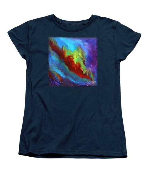 Desire A Vibrant Colorful Abstract Painting With A Glittering Center  Women's T-Shirt (Standard Cut)
