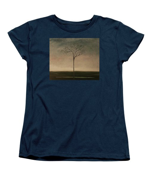 Women's T-Shirt (Standard Cut) featuring the painting Det Lille Treet - The Little Tree by Tone Aanderaa