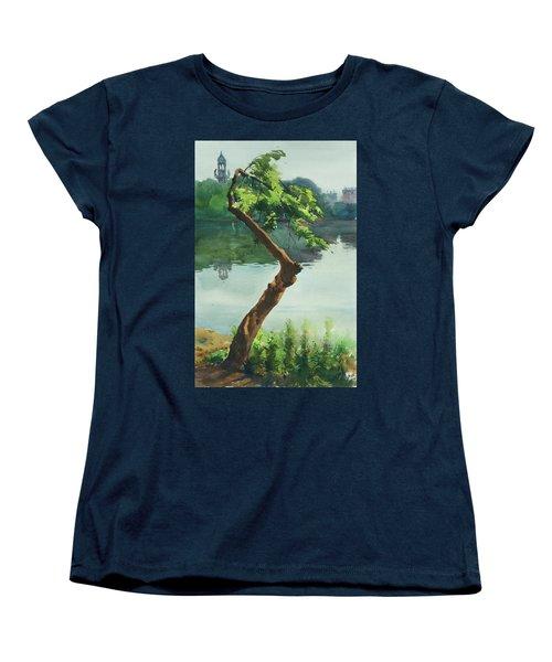 Women's T-Shirt (Standard Cut) featuring the painting Dhanmondi Lake 03 by Helal Uddin