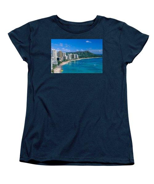 Diamond Head And Waikiki Women's T-Shirt (Standard Cut) by William Waterfall - Printscapes