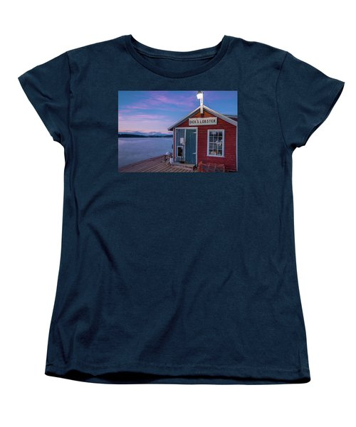 Women's T-Shirt (Standard Cut) featuring the photograph Dicks Lobsters - Crabs Shack In Maine by Ranjay Mitra