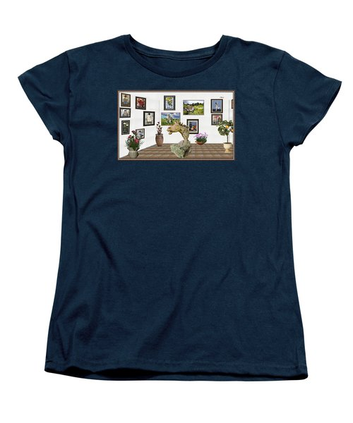 Women's T-Shirt (Standard Cut) featuring the mixed media Digital Exhibition _  Sculpture Of A Horse by Pemaro