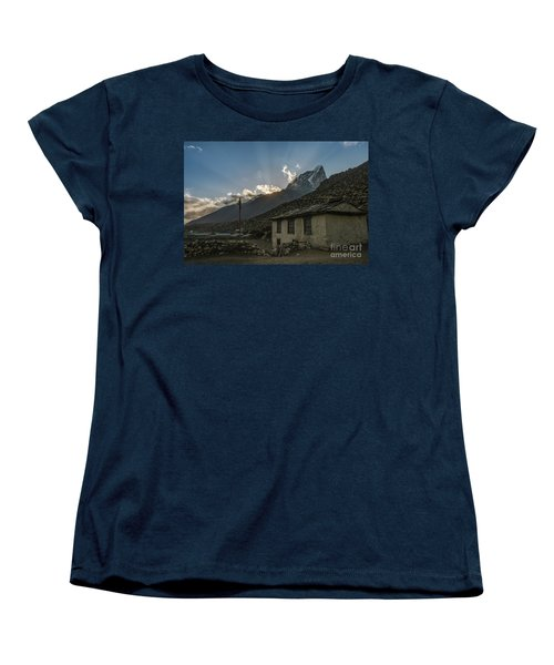 Women's T-Shirt (Standard Cut) featuring the photograph Dingboche Nepal Sunrays by Mike Reid