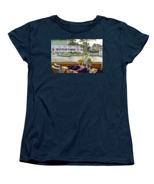 Women's T-Shirt (Standard Cut) featuring the photograph Dining Aboard The Miss Lotta by Maureen E Ritter