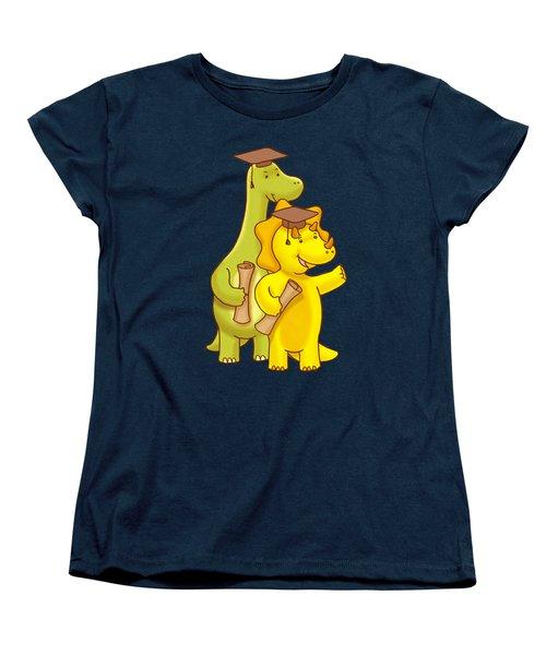 Dinosaur School Graduation Day Women's T-Shirt (Standard Cut) by Paws Pals