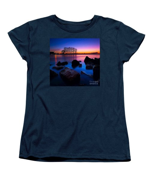 Distant Shores At Night Women's T-Shirt (Standard Cut) by Rod Jellison