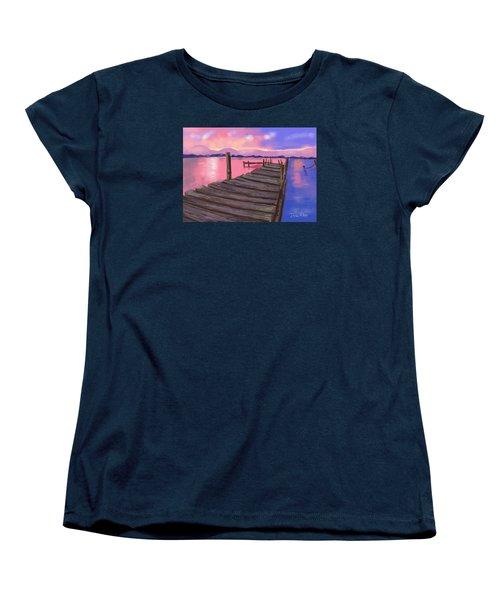 Dock At Sunset Women's T-Shirt (Standard Cut) by Diana Riukas