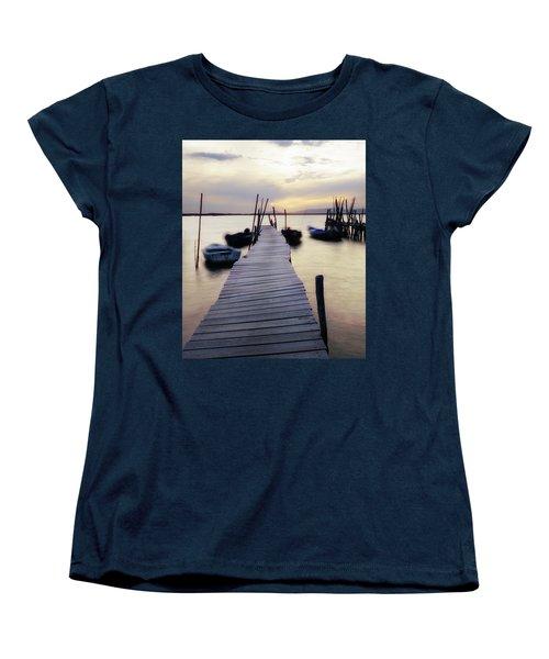 Dock At Sunset Women's T-Shirt (Standard Cut) by Marion McCristall