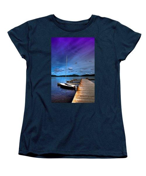 Docked On Fourth Lake Women's T-Shirt (Standard Cut) by David Patterson
