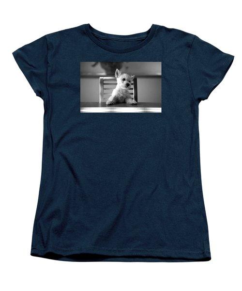 Dog Sitting On The Table Women's T-Shirt (Standard Cut) by Sumit Mehndiratta