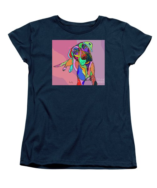 Women's T-Shirt (Standard Cut) featuring the drawing Dog Sketch Psychedelic  01 by Ania Milo