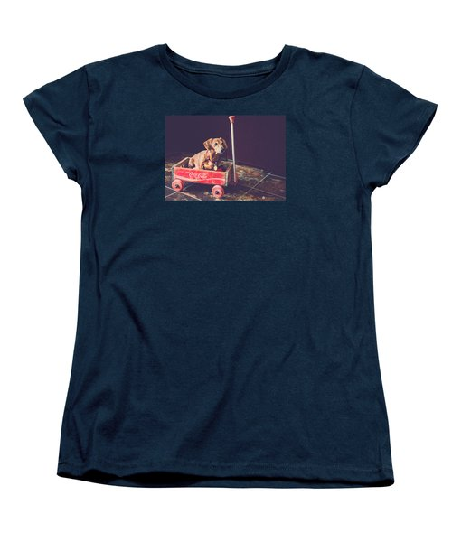 Women's T-Shirt (Standard Cut) featuring the photograph Doggy In A Wagon by Teresa Blanton