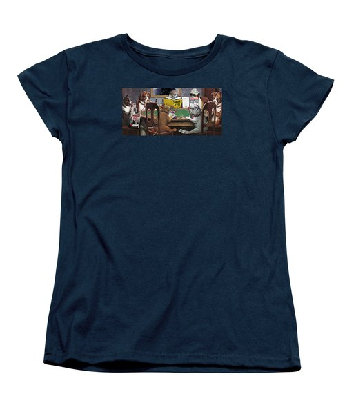 Dogs Playing Poker And Reading Steve Hodel Women's T-Shirt (Standard Cut) by Robert J Sadler