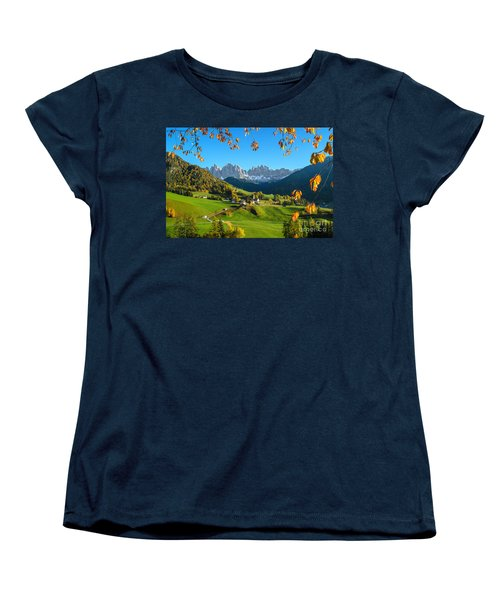 Dolomites Mountain Village In Autumn In Italy Women's T-Shirt (Standard Cut) by IPics Photography