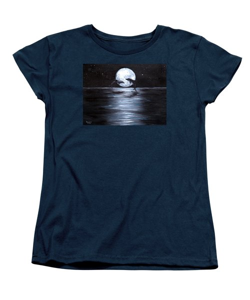 Dolphins Dancing Full Moon Women's T-Shirt (Standard Cut) by Bernadette Krupa