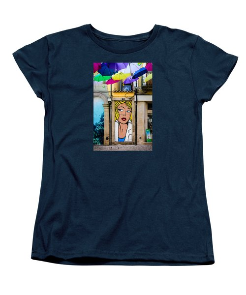 Door No 73 And The Floating Umbrellas Women's T-Shirt (Standard Cut) by Marco Oliveira