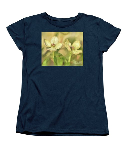 Women's T-Shirt (Standard Cut) featuring the digital art Double Dogwood Blossoms In Evening Light by Lois Bryan