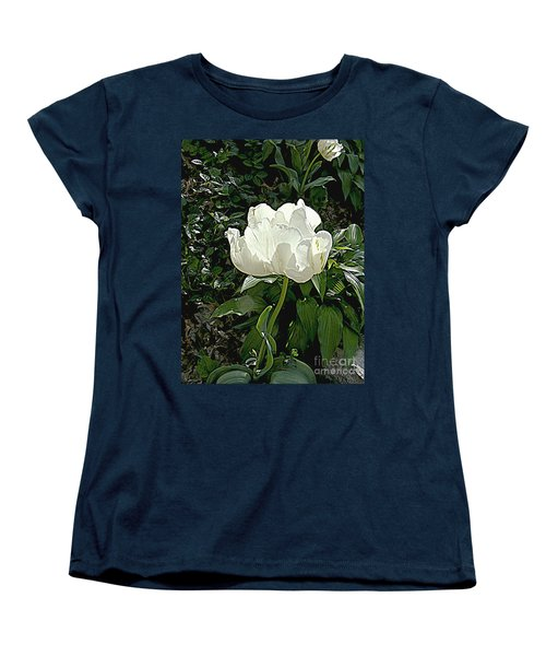 Women's T-Shirt (Standard Cut) featuring the photograph Double Tulip In White by Nancy Kane Chapman