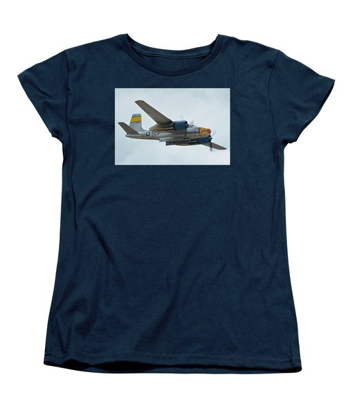 Women's T-Shirt (Standard Cut) featuring the photograph Douglas A-26b Invader Nl99420 Silver Dragon Chino California April 30 2016 by Brian Lockett