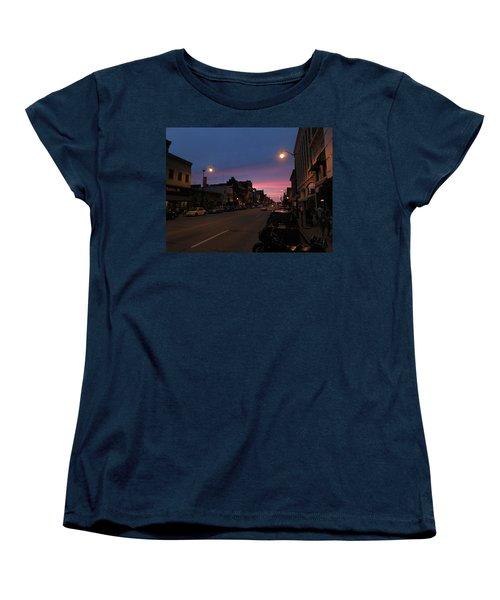 Women's T-Shirt (Standard Cut) featuring the photograph Downtown Racine At Dusk by Mark Czerniec