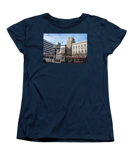 Downtown San Francisco - Market Street Buses Women's T-Shirt (Standard Cut) by Matt Harang