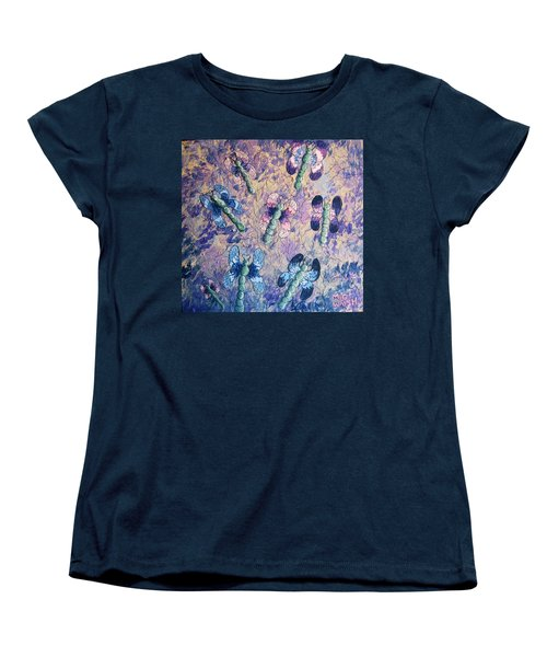 Women's T-Shirt (Standard Cut) featuring the painting Dragons In Indigo And Lavender by Megan Walsh