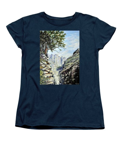 Women's T-Shirt (Standard Cut) featuring the painting Drakensberg by Heidi Kriel