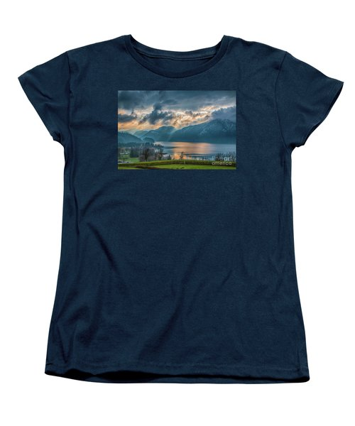 Dramatic Sunset Over Mondsee, Upper Austria Women's T-Shirt (Standard Cut) by Jivko Nakev