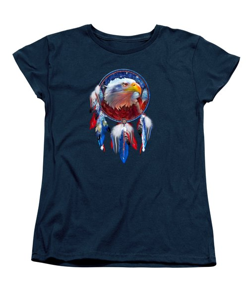 Dream Catcher - Eagle Red White Blue Women's T-Shirt (Standard Cut) by Carol Cavalaris