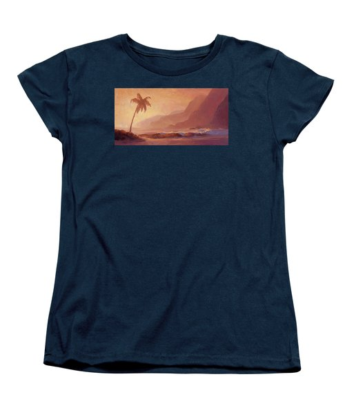 Women's T-Shirt (Standard Cut) featuring the painting Dreams Of Hawaii - Tropical Beach Sunset Paradise Landscape Painting by Karen Whitworth