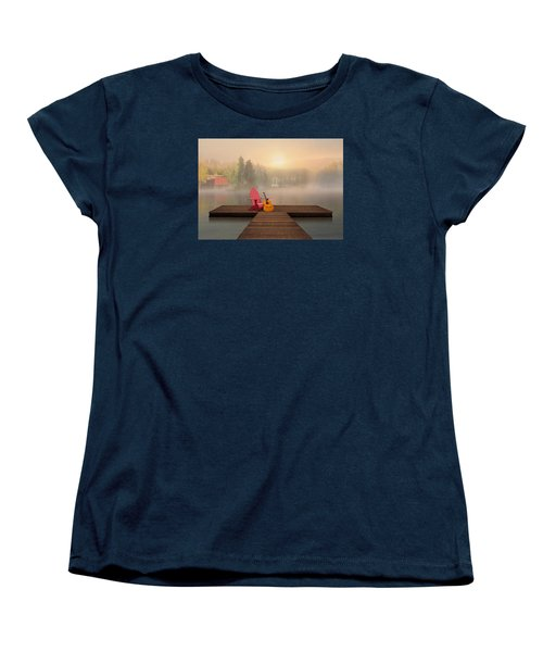 Women's T-Shirt (Standard Cut) featuring the digital art Dreamy Country Lake by Nina Bradica