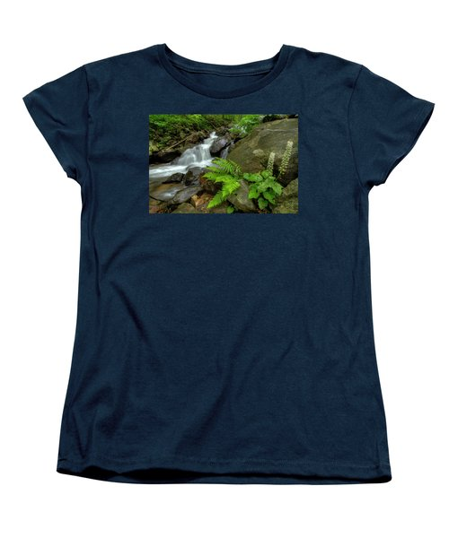 Women's T-Shirt (Standard Cut) featuring the photograph Dreamy Waterfall Cascades by Debra and Dave Vanderlaan