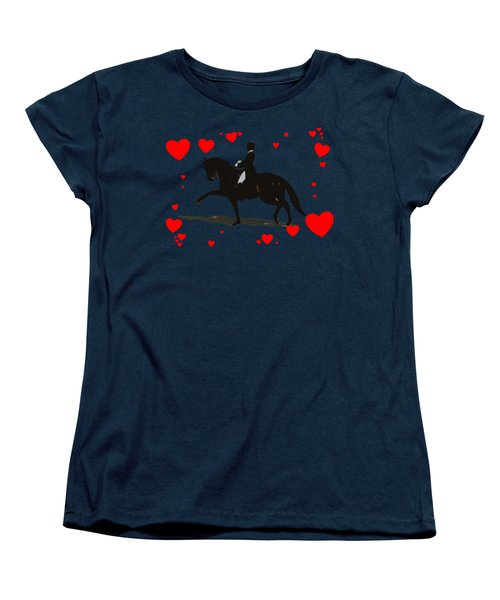 Dressage With Hearts Women's T-Shirt (Standard Cut) by Patricia Barmatz