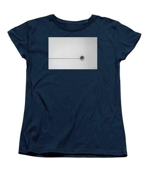Dry Flower - Black And White Art Photo Women's T-Shirt (Standard Cut) by Modern Art Prints