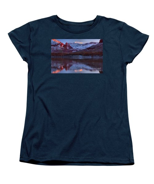 Women's T-Shirt (Standard Cut) featuring the photograph Dusk At Fisher Towers by Adam Jewell