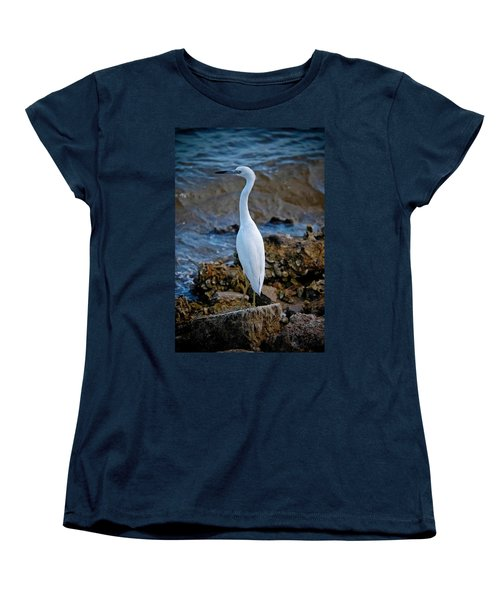 Eager Egret Women's T-Shirt (Standard Cut) by DigiArt Diaries by Vicky B Fuller