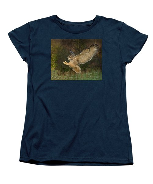 Eagle-owl Wings Back Women's T-Shirt (Standard Cut) by CR Courson