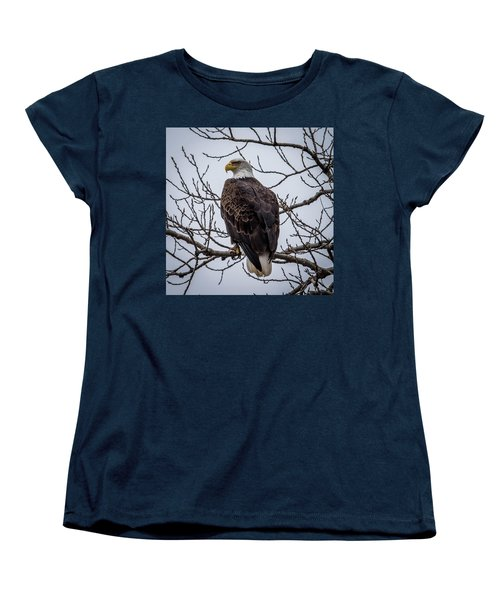 Women's T-Shirt (Standard Cut) featuring the photograph Eagle Perched by Paul Freidlund