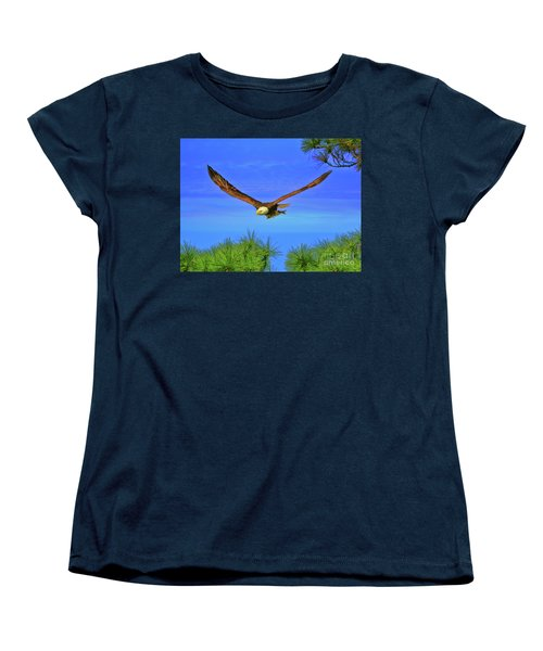 Women's T-Shirt (Standard Cut) featuring the photograph Eagle Series Through The Trees by Deborah Benoit