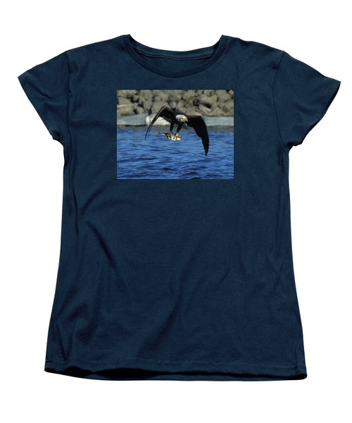 Women's T-Shirt (Standard Cut) featuring the photograph Eagle With Fish Flying by Coby Cooper