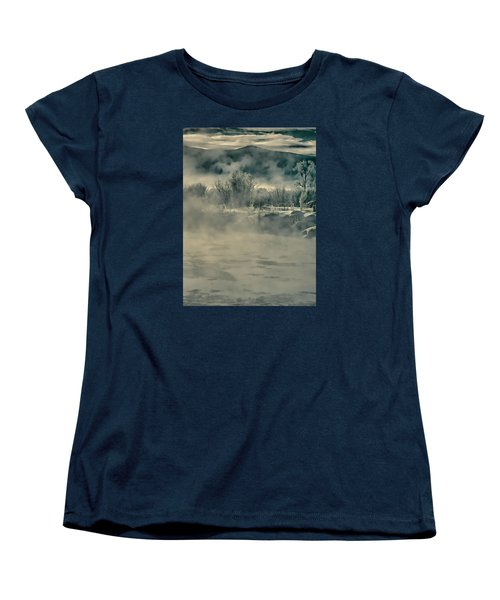 Women's T-Shirt (Standard Cut) featuring the photograph Early Morning Frost On The River by Don Schwartz
