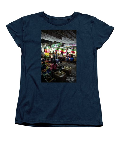 Women's T-Shirt (Standard Cut) featuring the photograph Early Morning Koyambedu Flower Market India by Mike Reid