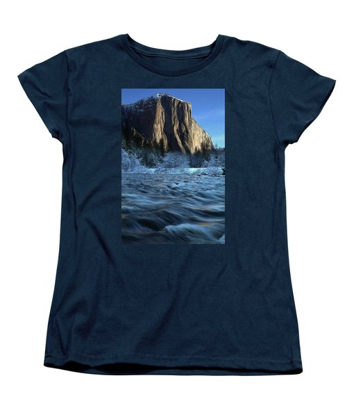 Early Morning Light On El Capitan During Winter At Yosemite National Park Women's T-Shirt (Standard Cut) by Jetson Nguyen