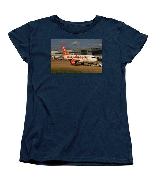 Women's T-Shirt (Standard Cut) featuring the photograph Easyjet Airbus A319-111  by Tim Beach